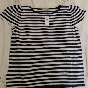 Loft large NWT navy and white ss sweater